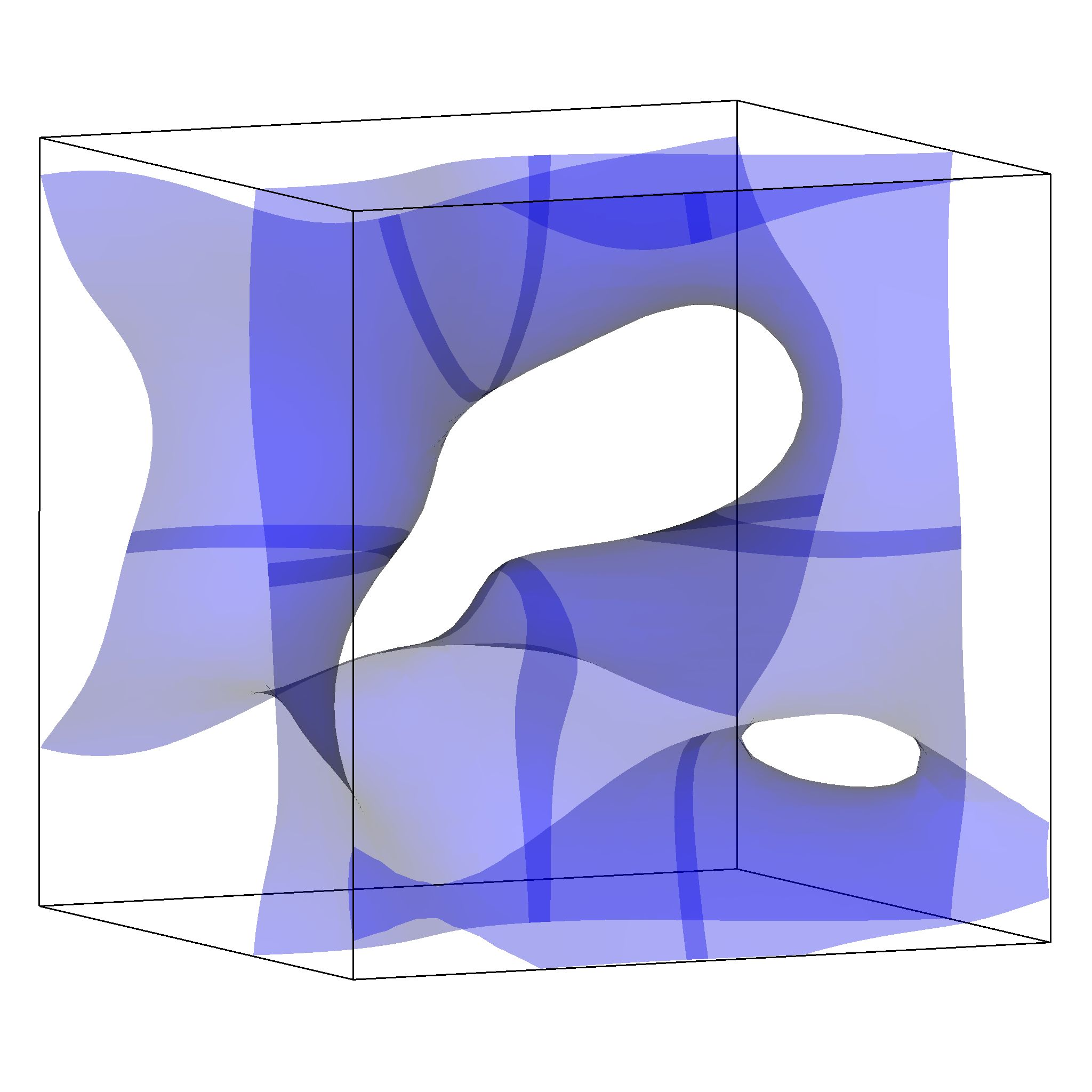Visualisation of an isosurface in VisIt with overlapping ghost zones.